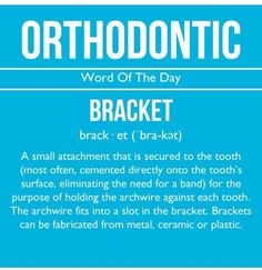 If you have braces you know what brackets are. Along with o-rings they help keep the arch wires in place and doing their job. Dental Braces, Dental Care, Orthodontic Humor, Orthodontics Marketing, Dental Fun Facts, Braces Tips, Dental Humor, Braces Humor, Dental Hygiene