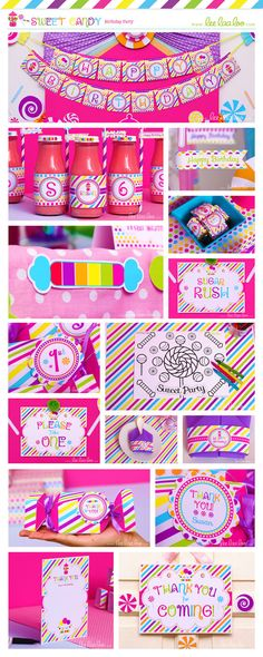 • Sweet Candy Party Theme • Shop Them Here:  https://www.etsy.com/shop/LeeLaaLoo/search?search_query=b88&order=date_desc&view_type=gallery&ref=shop_search ♥♥♥ Vendor Credits:  ♥ Party Styling: LeeLaaLoo - www.leelaaloo.com  ♥ Party Printable Design & Decoration: LeeLaaLoo - www.etsy.com/shop/leelaaloo Our YouTube channel for some DIY tutorials here: http://www.youtube.com/leelaaloopartyideas