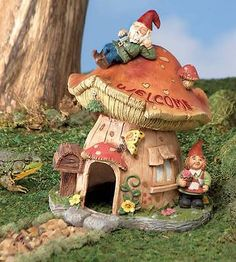 "Mushroom-Shaped Gnome House Yard Decor w/ Opening for Frogs & Toads 9.75""Hx7.5""W"