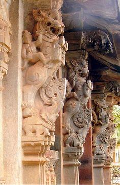 Yali pillars1 in Aghoreshwara Temple in Ikkeri, karnataka India