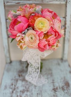 Peony wedding bouquet: Oak and the Owl Interior and Floral Design Studio / Photographed by Lane Dittoe Photography via Wedding Chicks by sarahx Peony Bouquet Wedding, Peonies Bouquet, Wedding Flowers, Carnation Wedding, Peach Bouquet, Blush Peonies, Peach Flowers, Bridesmaid Bouquet, Bridesmaids