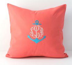 Split Anchor Monogrammed Pillow Cover - Coral Aqua - Custom - Split Design - Personalized - Dorm Decor - Children - Nursery Decor - 18 X 18 on Etsy, $38.00