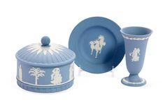 Wedgwood blue Jasperware trumpet bud vase covered round box and seahorse dish