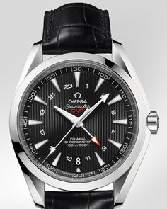 OMEGA Watches: Seamaster Aqua Terra 150 M GMT - Steel on leather strap - 231.13.43.22.01.001