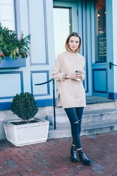 My weekend uniform consisted of this cozy knit sweater, long wool coat and ripped skinnies.@Glamhive where you get rewarded for shopping! http://www.glamhive.com/look/566a985ee4b08cab01e9b22b
