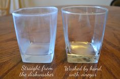 Remove film from glasses by soaking glasses in vinegar for 5-10min then re-wash (comments suggest runing the empty dishwasher with 2c of vinegar to clean or add distilled white vinegar to the rinse aid spot)