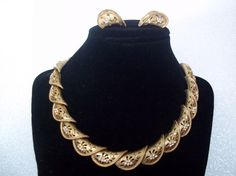 Gold and Rhinestone Necklace and Earring Set by Ladysprettys, $20.00