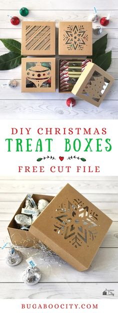 DIY Christmas Treat Boxes with Free Cut File These DIY Christmas Boxes are a the perfect holiday project for your cutting machine! Filled with sweet treats and tiny gifts these boxes make any gift extra special! Christmas Gift Wrapping, Diy Christmas Gifts, Christmas Treats, Cricut Projects Christmas, Holiday Gifts, Brother Christmas Gifts, Holiday Snacks, Christmas Hacks, Fall Treats