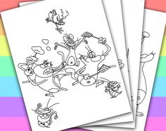 DIGITAL - INSTANT DOWNLOAD PRINTABLE COLORING PAGE  This listing give you a series of 4 printable coloring pages of OGGY AND THE COCKROACHES. You can use these coloring pages for your children's birthday party, or a small party in the classroom...