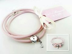 PANDORA Limited Edition Triple Leather Bracelet in Pretty Pink with Lock n Key Charm♡