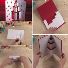 15 Original Christmas cards that you can make yourself without investing a lot - Tarjetas Christmas Card Crafts, Handmade Christmas, Tarjetas Diy, Pop Up Cards, Diy Cards, Homemade Cards, Birthday Cards, Paper Crafts, Handmade Ideas