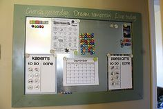 The chore chart is very basic, but I like the idea of the huge magnet board for all the family info.