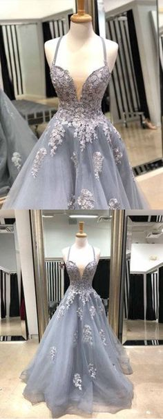 Gray tulle V neck open long A-line prom dress, gray party dress with lace appliques #promdress #promdresses #prom #dress