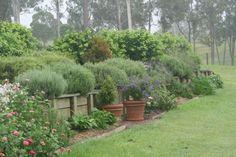 retaining wall with a shrub border