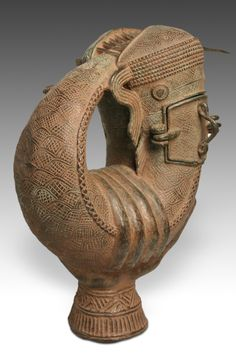 Benin cast bronze mudfish vessel