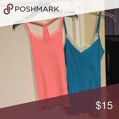 Junior Tank Tops (2) Coral pink & brightish blue. Old Navy & no boundaries. Both very stretchy. Tops Tank Tops