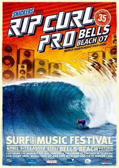 Pro Surfing, Rip Curl Pro Bells Beach ASP Mens Foster World Tour Professional Surfing News and Information by ProSurfing . Retro Surf, Vintage Surf, Trippy Wallpaper, Retro Wallpaper, Poster Wall, Surf Posters, Wind Surf, Surf Music, Pop Art Drawing