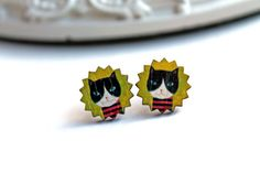 Pretty little tuxedo cat earrings sweet lolita by DinaFragola