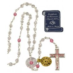 #Swarovski #Crystal #beads #Rosary with Sterling Silver links, Pink crystal bead paters, Swarovski crystal center with a Pink bead inlay and a Pink enameled Sterling Silver Crucifix. This #Rosary comes with a Certificate of Authenticity and can be worn. Made in Italy.