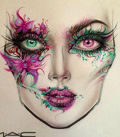 Full Makeup, Crazy Makeup, Beauty Makeup, Eye Makeup, Unique Makeup, Creative Makeup, Face Awards, Makeup Face Charts, Maquillaje Halloween