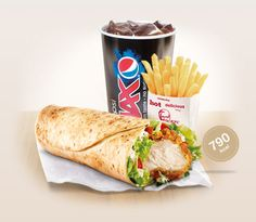 KFC  two 100% chicken mini breast fillets, lettuce, diced tomato and light pepper mayo all wrapped up in a toasted flour tortilla
