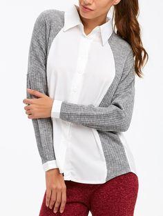 $16.65 Drop Shoulder Ribbed Knit Panel Shirt