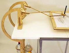 Wood harmonograph drawing machine uses gravity to create amazing patterned drawings
