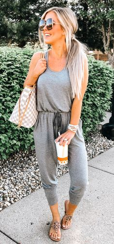 Stylish Outfit Ideas To Beat The Summer Heat Explore gray romper pants and Damier Azur Louis Vui Korean Summer Outfits, Vintage Summer Outfits, Elegant Summer Outfits, Preppy Summer Outfits, Summer Outfits Women Over 40, Summer Outfit For Teen Girls, Stylish Outfits, Classy Outfits, Outfit Summer