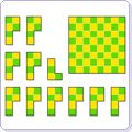 Here's a page with a series of checkerboard themed puzzles for students to solve.