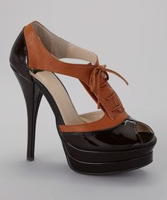 Look at this Brown Quez Leather Platform Pump on #zulily today!
