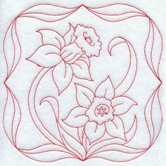embroidery daffadills | Machine Embroidery Designs at Embroidery Library! - Daffodils (Redwork ...