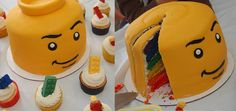 5th birthday party - Lego Minifig Cake and Cupcakes  :)))