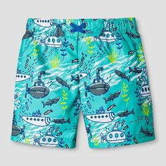 Toddler Boys' Submarine Print Swim Trunk Cat & Jack™ - Aqua : Target