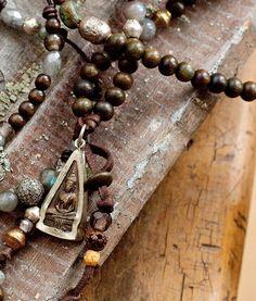 Buddha Pendant and Mala Prayer Beads Michelle Marocco Prayer Bead Necklaces, Prayer Beads, Namaste, Beaded Jewelry, Beaded Necklace, Beaded Bags, Jewellery, Tribal Jewelry, Meditation