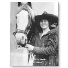 Ruth Roach (1896 - 1986) and her horse ... traveled the world with the Buffalo Bill Wild West Show and The 101 Real Wild West Show.  Bronc riding was her favorite event, although she performed and won championship titles in other areas; winning the titles of World's Champion All Around Cowgirl, World's Champion Trick Rider, and World's Champion Girl Bronc Rider.