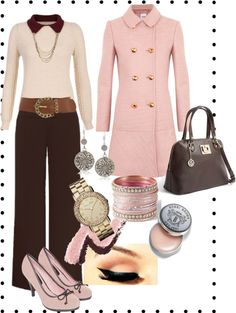 """Pink & Brown"" by bernzz on Polyvore"