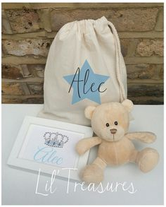 Personalised baby gift set drawstring bag teddy keepsake bag personalised gift bag set crystal by liltreasuresprints on etsy negle Gallery