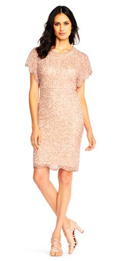 Adrianna Papell Sequin Beaded Cocktail Dress With Flutter Sleeves And Scallop, Rose Gold Cocktail Dresses With Sleeves, V Neck Cocktail Dress, Casual Dresses, Short Sleeve Dresses, Summer Dresses, Long Dresses, Pretty Dresses, My Bridal Shower, Affordable Prom Dresses