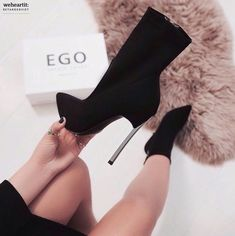 ef6d585b964 Black suede EGO boots with metal heel. Chaussure ClasseChaussure ModeTalons  ...