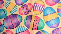 """Sparkly Easter Eggs Fabric ~Cotton Novelty Print Glittery Metallic Turquoise Accents Spring Easter Print Sew Craft Quilt ~ 2.5 Yards - 44"""" W"""