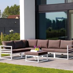 New Desigh Powder Spraying Aluminum Patio Waterproof Fabric Corner Sofa Set Outdoor  Furniture Part 48