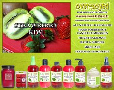 Strawberry Kiwi Product Collection - A melange of fruit slices! Ripe, juicy strawberries and fuzzy kiwis are blended to perfection. A super sweet island treat! #OverSoyed #StrawberryKiwi #ExoticFruits #Exotic #Fruity #Fruit #Candles #HomeFragrance #BathandBody #Beauty