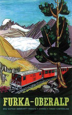 Furka Oberalp Hugo Schol. Vintage Travel Switzerland