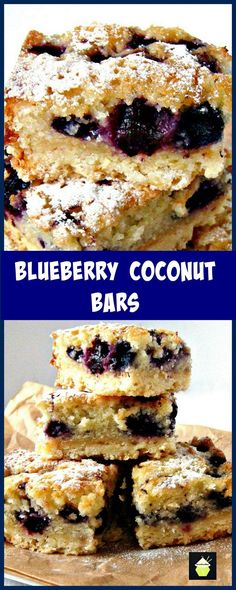 Blueberry Coconut Bars, Easy to make and very delicious too! #blueberry #coconut #cookie #cake #dessert