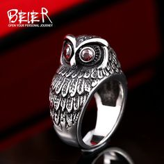Vintage 3D Owl Ring For Man Woman Unisex Stainless Steel Fashion Red E – Jason…