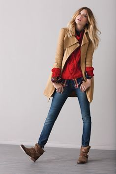 Sweater over plaid! and the boots! and the trench! Cute!