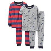 Boys' Clothing, Sleepwear & Robes, Pajama Sets,Little Boys' 4 Piece PJ Set (Toddler/Kid) - Baseball - Baseball - # # Baby Boy Pajamas, Carters Baby Boys, Girls Pajamas, Toddler Boys, Toddler Outfits, Baby Boy Outfits, Kids Outfits, Cheap Name Brand Clothes, Cotton Pjs