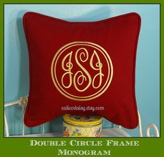 Double Circle Frame Monogrammed Pillow Cover  16 x by calicodaisy, $45.00  #monogram #bedroom #dining