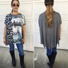 Chic casual tops Relaxed short sleeve graphic tops with solid contrast back Please do not purchase this listing. Comment with size and I will create a new listing for you. Small (2/4) Medium (6/8) Large (10/12). Price is firm unless bundled. Tops