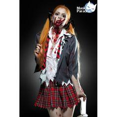 Zombie Schoolgirl Kostüm Komplettset